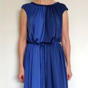 Two Blue Tones Maxi Dress with belt